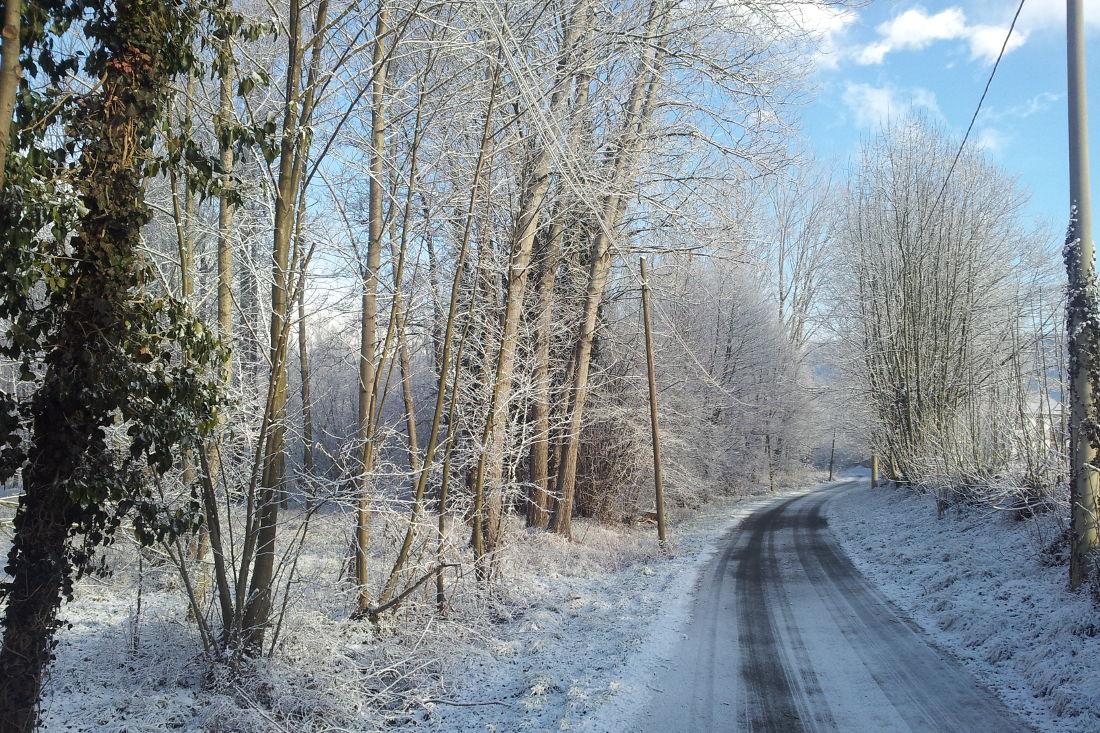 Strada spolverata di neve